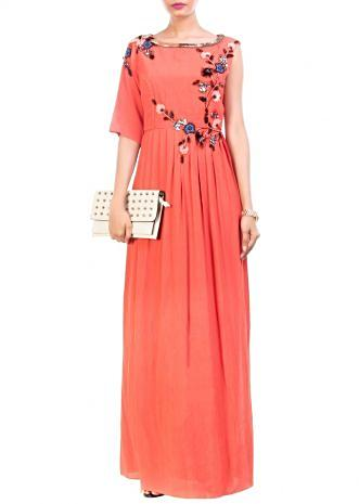 Tangerine High Slit Maxi & Slim Fit Trouser Set
