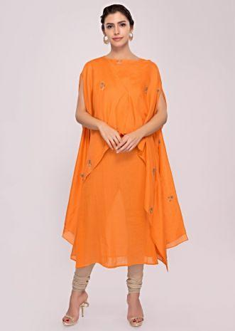 Tangerine orange cotton kurti with over lay fancy jacket in butti