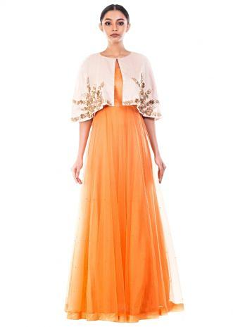 Tangerine Vintage Gown With Embellished Jacket