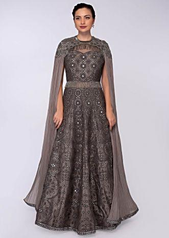 Taupe grey raw silk anarkali gown in jaal embroidery