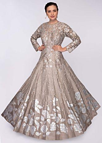 Taupe grey raw silk gown with embroidered net bodice