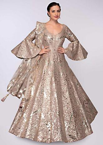 Teak Brown anarkali gown in patch work all over