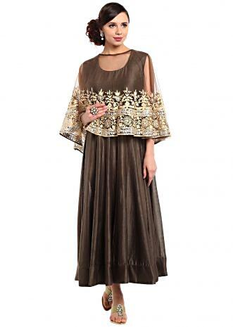 Teak brown suit with thread embroidered cape only on Kalki