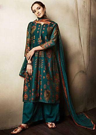 Teal blue brown unstitched suit in cotton with floral butti and printed neckline