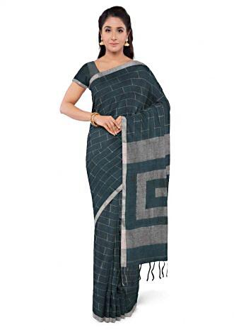 d4ef4af8d9 Teal green jute cotton saree with matching blouse piece only on Kalki