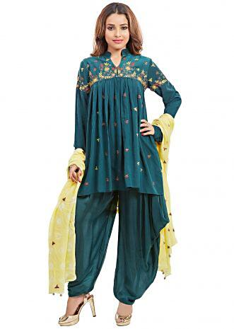 Teal green suit with lime yellow dupatta