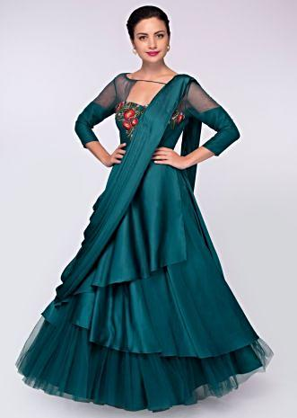 Teal satin and net  anarkali gown styled cowl drape and ready pleated dupatta