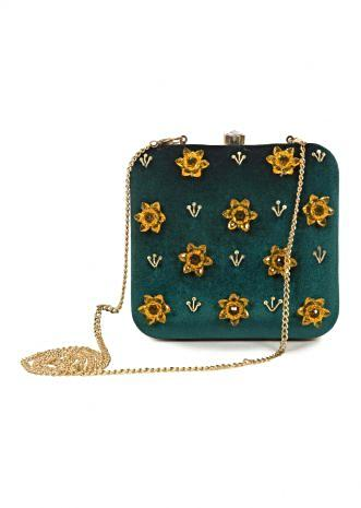 Teal blue velvet base Clutch with sequin