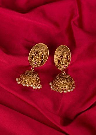 Temple jhumkas in Lakshmi motif only on Kalki