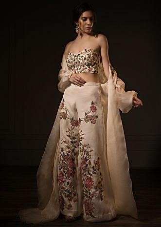 Three piece creamish pink palazzo set floral embroidery only on kalki