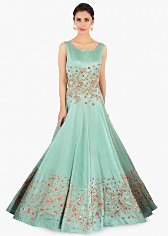 Tiffany blue satin gown in zari and resham floral embroidery