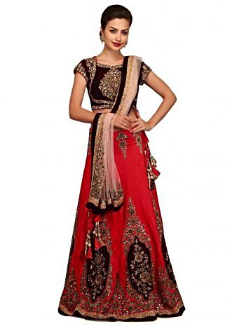 Tomato red lehenga in zardosi hand embroidery only on Kalki