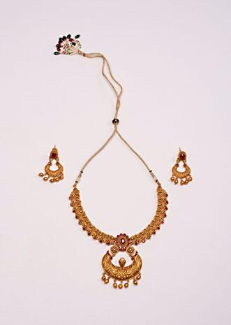 Traditional gold palted jewellery with antique style pendanat