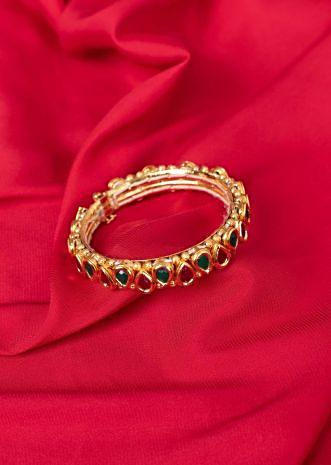 Traditional gold plated kada in magenta and emerald green beads only on Kalki