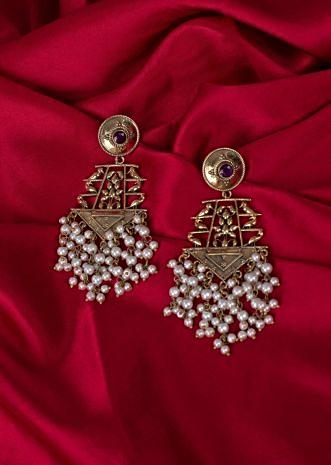 Traditional golden earring with nano moti chain dangler only on Kalki