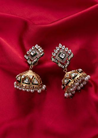Traditional jhumkas earrings with cut outs only on Kalki