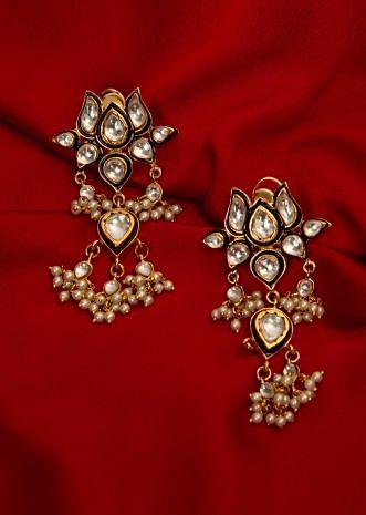 Traditional lotus earring with kundan and moti drops