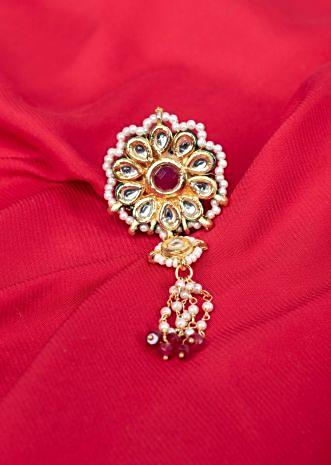 Traditional kundan ring in floral shape with tassel only on Kalki