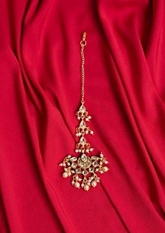 Traditional maang tikka studded in kundan and moti beads only on Kalki