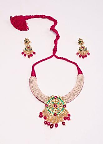Traditional red chocker necklace set in moti and multi color stone work