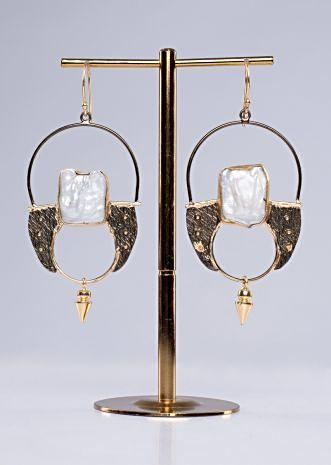 Tribal style french hoop earring with semi precious stone