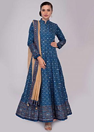 True blue cotton anarkali dress with tikki embroidery