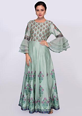 Turq blue cotton anarkali dress with  floral  printed butt