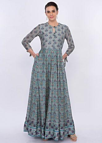 Turq blue cotton tunic dress in floral print only on Kalki