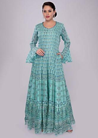 Turq blue floral printed crepe dress with flared sleeves