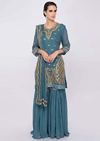 Turq blue gotta patch embroidered sharara suit set only on Kalki