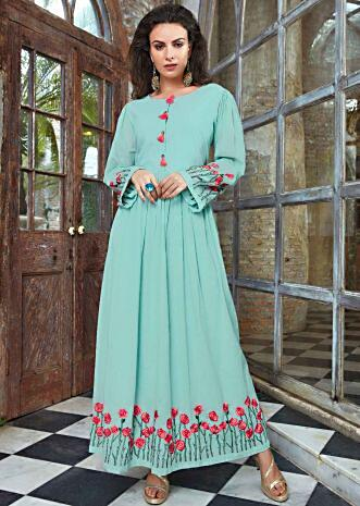 Turq green cotton tunic dress with gathers from the waistline