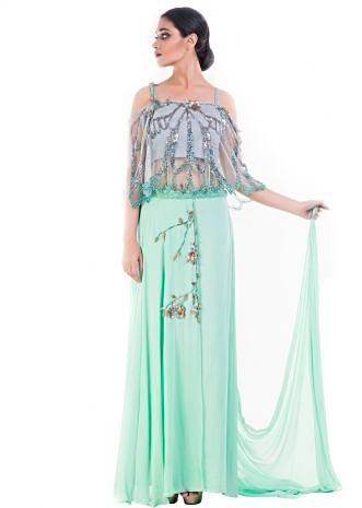 Turquoise Green Embellished Croptop & Layered Palazzo Set