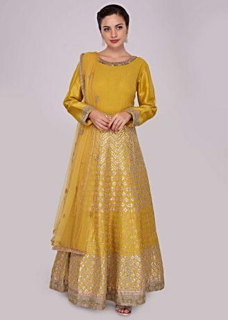 Tuscan yellow anarkali suit with kali embellished in gotta patch embroidery