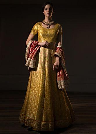 Tuscan yellow brocade lehenga set with red bandhani dupatta only on kalki