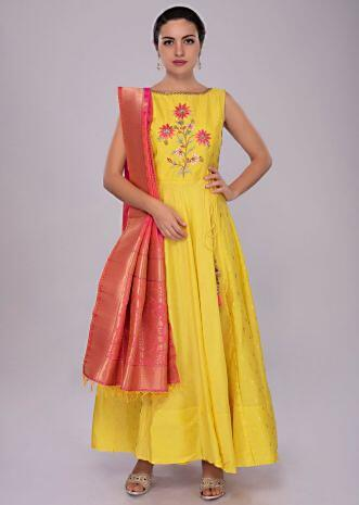 Tuscan yellow cotton anarkali suit with textured bodice