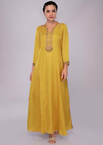 Tuscan yellow tunic dress with embroidered neck and placket