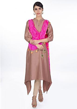 Tuscany brown kurti with a pre attached pink bandhani dupatta