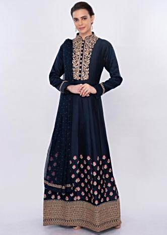 Twilight blue floral embroidered anarkali dress only on Kalki
