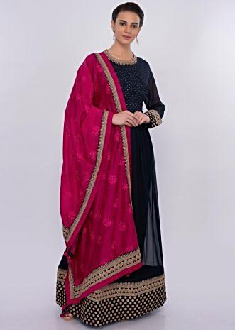 Twilight blue georgette anarkali dress  with fuchsia pink dupatta only on Kalki