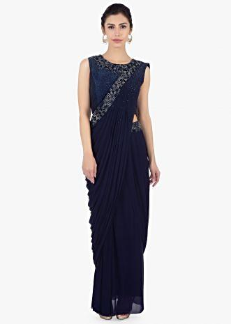 Twilight blue ready plated lycra saree skirt paired with matching  raw silk blouse