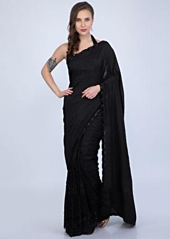 05db2f55d8 Unbeatable black designer black saree featuring in silk and net only on  Kalki
