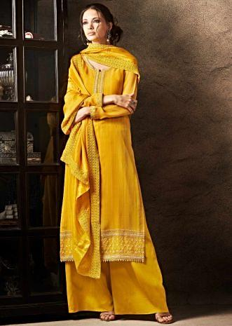 Unstitched suit chrome yellow in resham embroidered placket and hem line
