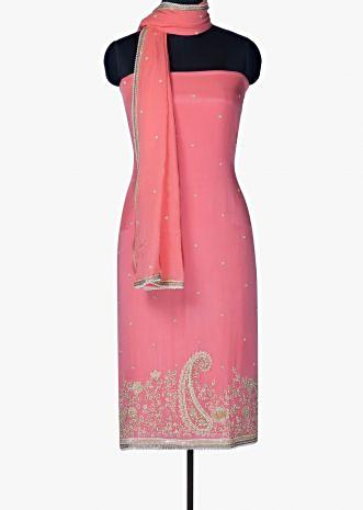 Unstitched suit in pink with hem line in sequin and moti embroidery only on Kalki