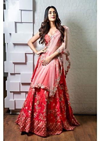 Warina Hussain in kalki coral red lehenga set