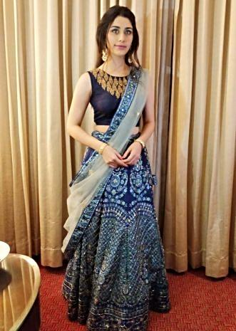 Warina Hussain  in kalki admiral blue raw silk lehenga set.