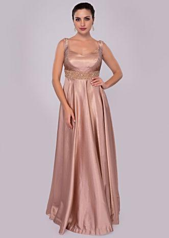 Warm taupe brown milano satin gown with embroidered empire line
