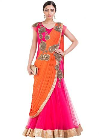 Watermelon Pink Fish Cut Gown Saree