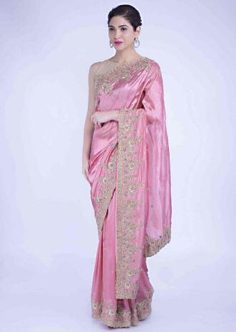 e4b5577be0 Watermelon pink silk saree with matching blouse piece only on Kalki ...