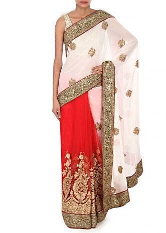White and red saree in moti embroidery only on Kalki