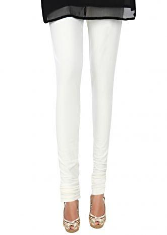 White lycra Hosiery Legging Styled with a Skin Fit only on Kalki